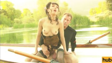 Brunette lady Cytheria has some outdoor sex on a boat and loves it