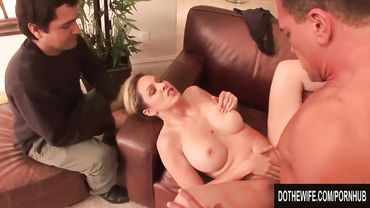 Busty blonde housewife enjoys hardcore anal fucking in front of her cuckold husband
