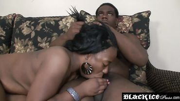 Black dude gets his dick sucked by an ebony babe who loves a blowjob