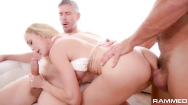 Blonde babe gets double penetration hardcore action with some really big dicks inside her