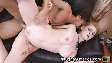 Pale redhead with perky tits bent over and hammered after slobbering on a cock