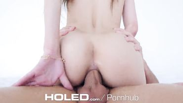 Stunning brunette with a slim body deepthroats before having her tight ass ravaged