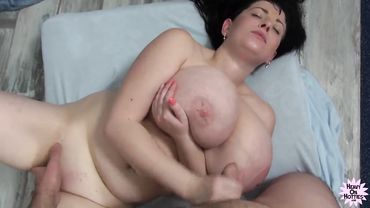 European MILF with huge tits gets her face covered in cum after being fucked