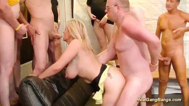 Slutty blonde MILF enjoys rough group sex and eats loads of hot cum