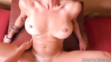 Fit and busty blonde cougar loves sucking dick and being fucked rough