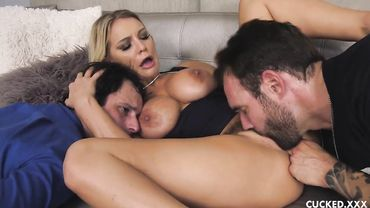 Classy blonde fucked by another guy in front of her cuckold husband