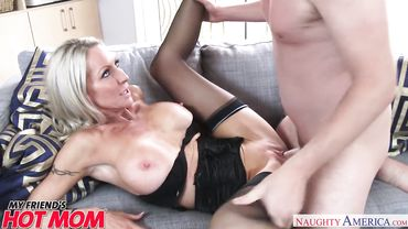 Classy blonde mom seduces a younger guy into drilling her tight wet cunt