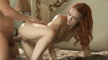 Foxy redhead babe takes a throbbing boner in her wet trimmed pussy