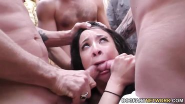 Ebony babe gets loads of cum on face in her bukkake party