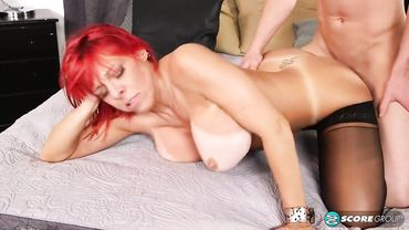 Big ass MILF in black stockings is penetrated doggy and missionary style