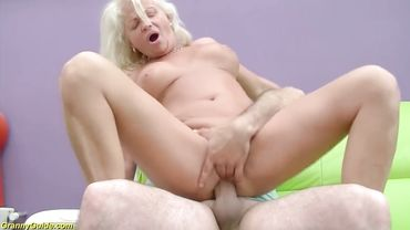 Amateur blonde granny is all about hard anal sex as she rides a man