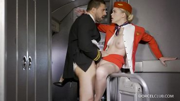 Stunning blonde in flight attendant uniform pounded hard and sprayed with cum