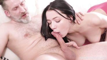 Deep throat blowjob from a horny young brunette that loves older dudes
