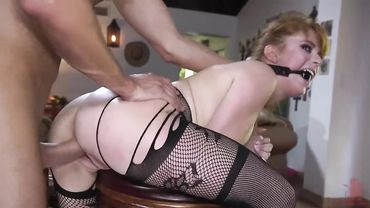 Bondage sex for a hot MILF in fishnets that loves to fuck constantly