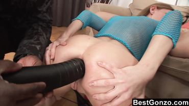 Euro babe loves intense anal fucking from these big dildos and endures black dicks