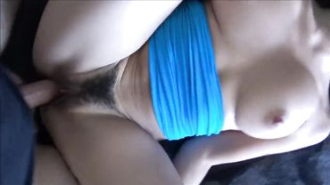 Dashing brunette slobbers on a thick cock before riding it deep and hard