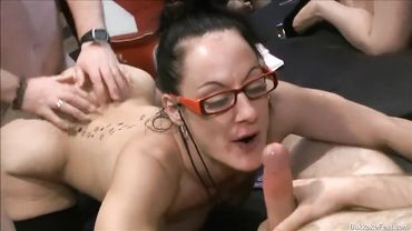 Old dark haired babe gets some nice bukkake with a bunch of dudes