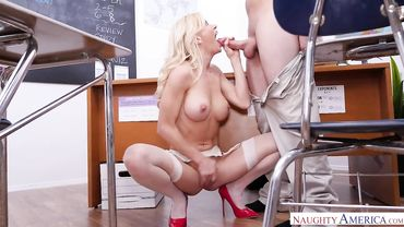 American blonde with big tits enjoys getting her cunt smashed on camera