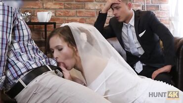 European bride gives a blowjob to another man in front of her hubby