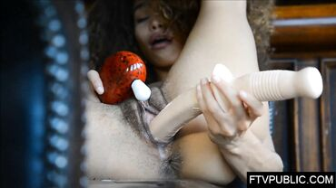 Exotic girl Cecilia Lion masturbates with toys until her pussy cums hard