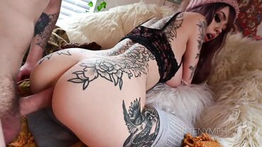 Goth babe with tattoos loves a rough anal fuck in the doggystyle