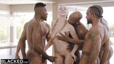 Cute nympho with blonde hair Kendra Sunderland has rough sex with multiple ebony studs