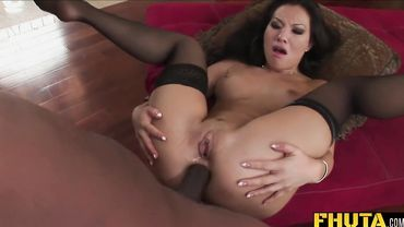 Asa Akira gets her Asian anal cavity stretched out by the big cock of Rico Strong