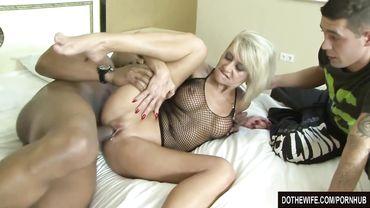 Blonde MILF rides a big black cock in front of her cuckold boyfriend