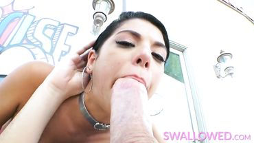 Latina whore Gina Valentina is all smiles while giving a rough blowjob