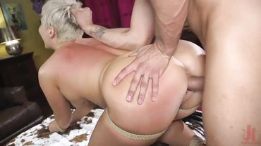 Blonde MILF slut Ryan Keely is tied and dominated while fucked doggy style