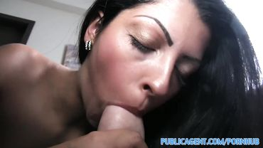 Stunning Euro brunette swallows a massive cock before having sex for cash