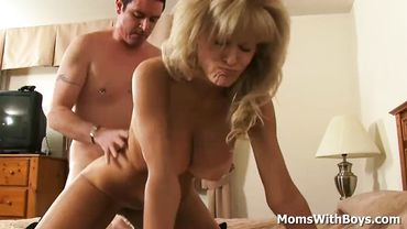 Mature blonde with big tits loves sucking dick before hardcore doggy style pounding