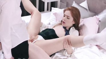 Beautiful brunette and redhead schoolgirls use strapon to fuck their soft pussies