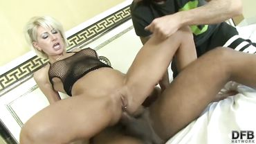 White blonde cougar cheats on her husband with a big black dick