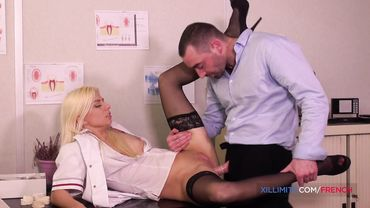 French blonde dentist sucks her patient off before taking his dick in her ass