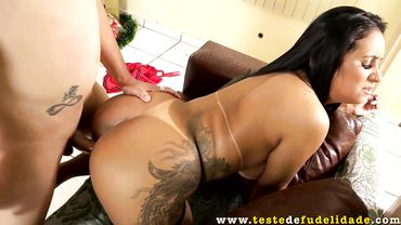 Thick chick with a big ass lets her boyfriend plow her very roughly
