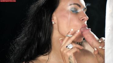 Mom smoking while giving a blowjob until she swallows some yummy cum