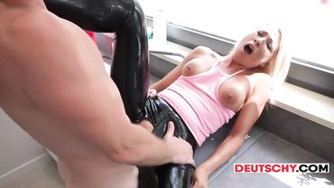 Amateur German blonde prostitute enjoys some rough anal sex with a client