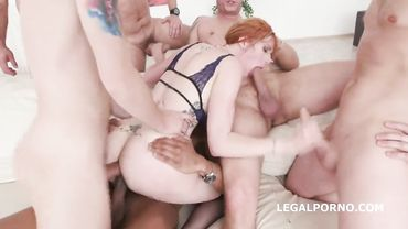 Nasty sluts have a rough hard fuck in a filthy gangbang compilation