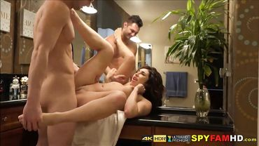 Kinky MILF fucks a young guy on the table right after she finished shower