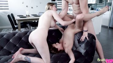 Teens are enjoying doggy style drilling in a threesome after giving blowjobs