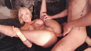 Babe with thick thighs in fishnets endures a nice ass fuck for joy