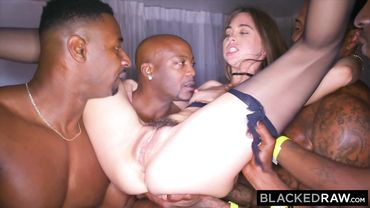 Tiny whore with small boobs has an insanely wild gangbang with few black thugs