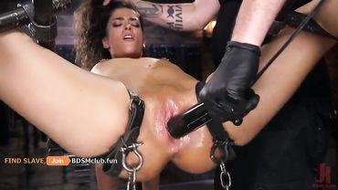 Luscious brunette tied up and ravaged into submission with all kinds of sex toys