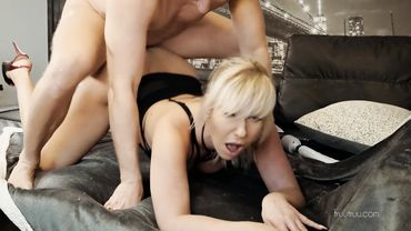 Classy blonde cougar bent over into balls deep and rough anal drilling