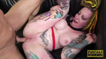 Tattooed MILF slut bleaches all over herself while during rough hardcore sex
