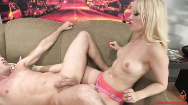 Slim MILF fucks her lover with a strapon and treats him like a slave