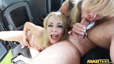Blonde European MILFs have sex in car as they give a blowjob