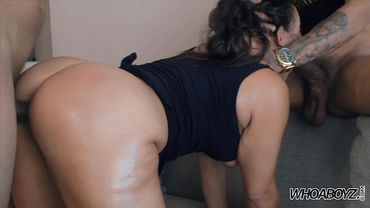 Big ass Latina pornstar goes for doggy style interracial threesome with a facial