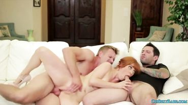 Anal and double penetration for a tattooed redhead porn star called Penny Pax
